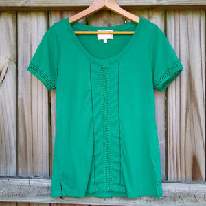 Skies Are Blue Emerald Green Short Sleeved Blouse